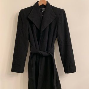 Jackets & Blazers - Black Wool Wrap Coat
